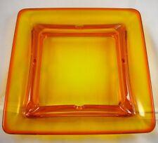 Viking Glass Orange Persimmon Large Ashtray Dish Square Vintage HTF