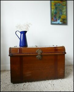 Antique Trunk Metal Chest Steamer Style Original Scumble Large Coffee Table Logs