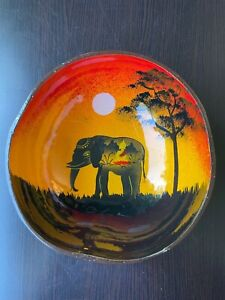 Natural Coconut shell bowl with Elephant painting - Thailand