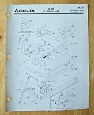 Original Delta 11 Wood Lathe 46 140 Illustrated Parts List Wl 2b
