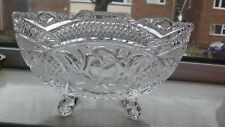 Vintage Pressed Clear Glass Bowl, footed. Cut and etched Flower Pattern.