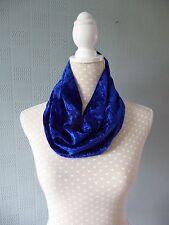 Bluecrushed velvet snood, blue velour cowl scarf, blue velour loop scarf
