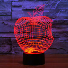 3D Optical Illusion Apple lamp 7 Colors Changing Touch Switch Night Light Decor