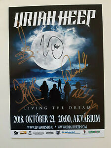 URIAH HEEP mini poster (size A4) tour 2018 SIGNED BY ALL!