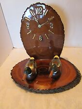 Solid tree Slab Wood Epoxied Mantel clock w/ 2 wood duck decoys glass eyes 1960s