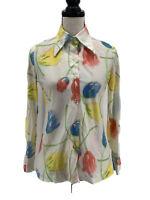 Vintage Jantzen Womens Floral Shirt 10 Long Sleeves Tulips Multicolor 1970s