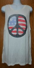 Womens Ivory Peace Sign Billabong Sleeveless Shirt Size Small NWT NEW