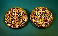 Vintage 1980's Dominique Aurientis Paris Clip on Earrings Rhinestone Gold Tone