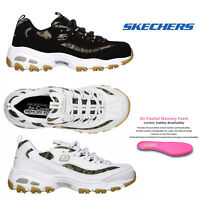 Skechers Womens D'Lites Quick Leopard Trainers Lace Up Memory Foam Sneakers Shoe