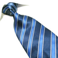 "Extra Long Microfibre Tie XL Blue//Silver Men/'s Woven Jacquard Necktie TPL380 63/"""