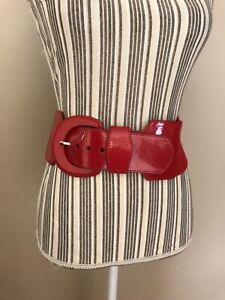 A.N.A Women's Red Belt Wide Buckle Elastic Stretch Faux Leather size XL