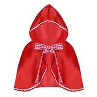 Kinder Halloween Bowknot Umhang Rotkäppchen Cape mit Kapuze Fasching Kostüm