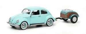 Schuco 1:43 Volkswagen Beetle Ovali with trailer Westfalia turquoise 450269900