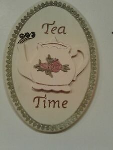 """SHABBY CHIC TEA TIME PLAQUE WITH LACE TRIM WALL HANGING 12"""" X 8.5"""""""