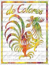De Colores Rooster Vinyl Decal in Tye Dye Multicolored Vinyl Cursillo Catholic
