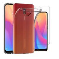 For Xiaomi Redmi 8A Case Clear Slim Gel Cover & Glass Screen Protector