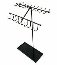 Black Metal Necklace/Bracelets Display Stand, Jewelry Organizer Rack - 30 Hooks