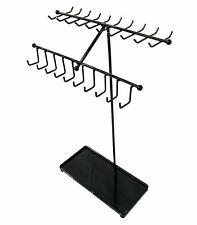 Black Metal Necklacebracelets Display Stand Jewelry Organizer Rack 30 Hooks