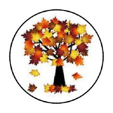 48 FALL TREE LEAVES AUTUMN ENVELOPE SEALS LABELS STICKERS 1.2