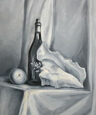 European Art, Still Life Oil Painting, Bottle Seashell