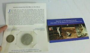 Lot Of 2 Marshall Islands 1st Men on the Moon $5 Commemorative Coins in Folders