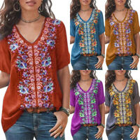 Women Boho V Neck Foral Short Sleeve Tops T Shirt Blouse Summer Loose Casual Tee