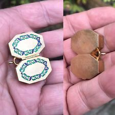 Antique 19th C French Enamel 18ct Gold Double Snuff Box Or Pill Box Pendant Rare
