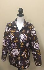 LANDS END Floral Jacket Quilted  Brown Purple Size XL/T 18