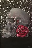 Large Skull With Rose. Traditional Gothic Fine Art