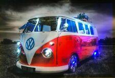 T1 BULLI Bus LED Bilder LED Bild 65 cm x 45 cm Wandbild Leuchtbild OLDTIMER