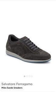 New Auth Salvatore Ferragamo Miles Gray Suede Lace Men Shoes Sneakers 7 $540