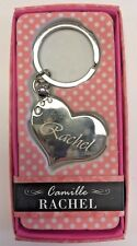 RACHEL Camille heart silver color personalized KEYCHAIN BRAND NEW IN PACKAGE