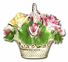 VTG Capodimonte Roses and Leaves in Handled Basket Detailed Centerpiece w/Tag*