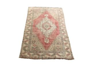 Antique Turkish Rug, Medallion Design Rug, Wool Rug, Vintage Rug, Faded Rug,1332