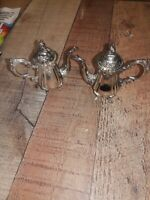 Godinger Silver Plated Vintage Coffee Teapot Salt And Pepper Shakers