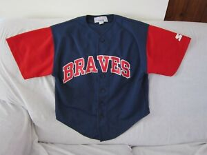 MLB ATLANTA BRAVES VINTAGE 1990S STARTER JERSEY KIDS SIZE MEDIUM/12