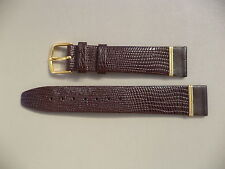 10MM BROWN CALF LIZARD GRAIN WATCH STRAP WITH GOLD COL BUCKLE