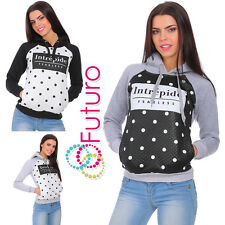 Womens Warm Hoodie Flower Pattern Pullover Sweatshirt Blouse Sizes 8-14 FZ58