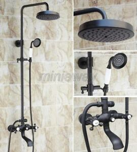 Black Oil Rubbed Brass Bathroom Rain Shower Faucet Set Bathtub Tap Mixer mhg108