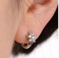 .925 Pure Sterling Silver Cuff Earrings Small Petite Hoops CZ Hawaiian Flower