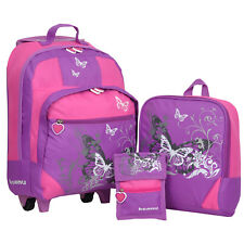 Kindertrolley 3er SET Keanu Butterfly Trolley Rucksack Brustbeutel Lila Mädchen