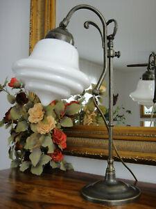 Tischlampe Jugendstil Antik Lampe Tischleuchte Schreibtischlampe Messing Glas