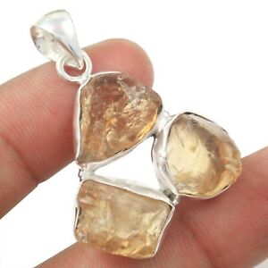 Natural Rough Citrine Solid 925 Sterling Silver Pendant Jewelry N-1587