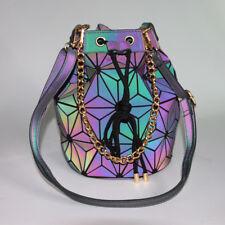 Luminous Geometric Drawstring Bucket Bag Holographic Reflective Folding Chains