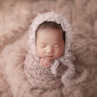 Baby Newborn Chemical Fiber Mesh Hat+Ripple Wrap Photography Props Set for 0-3M
