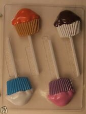 PLAIN CUPCAKE MUFFIN LOLLIPOP CLEAR PLASTIC CHOCOLATE CANDY MOLD AO235