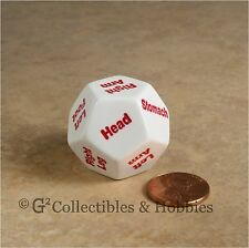 NEW D12 Body Hit Location Die RPG Game Dice 12 Sided Koplow 28mm