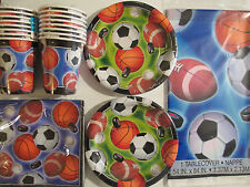 ACTION SPORTS Football, Hockey, Soccer, Baseball & Basketball- Party Supply Kit
