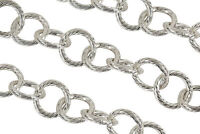 Sterling Silver Plated 10mm Textured Round Link Charm Chain Sold By The Foot
