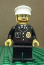 LEGO MINIFIGURE – TOWN CITY - POLICE – CITY SUIT, WHITE HAT, BEARD – GENTLY USED